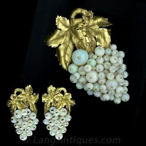 Opal Earrings and Pin Jewelry Suite.
