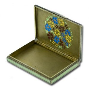Guilloché Enameled Box with a Plique à Jour Rosette in the Lid.