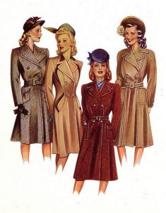 Women's Fashions Took a Masculine Turn During the War Years.