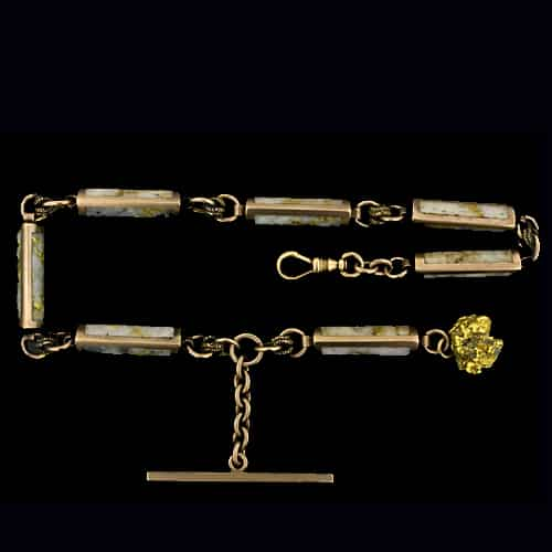 Unusual and Very Collectible, American,Gold in Quartz Albert Chain Inspired as a Souvenir of the 1849 Gold Rush.