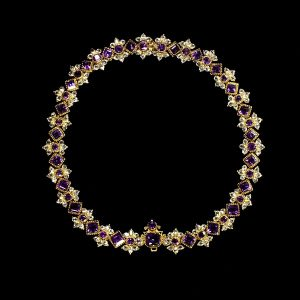 Amethyst, Crystal and Gold Necklace c.18th Century.