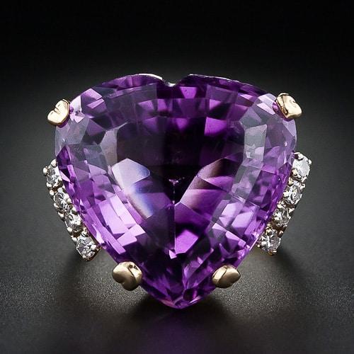 Mid-Century Heart-Shaped Amethyst Ring.