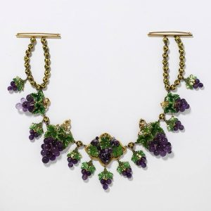 Amethyst and Enamel on Gold Grape Cluster Necklace, c.1850.