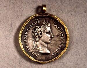 Roman coin pendant, ~2 BC, Rome