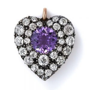 Antique Amethyst and Diamond Heart Pendant.