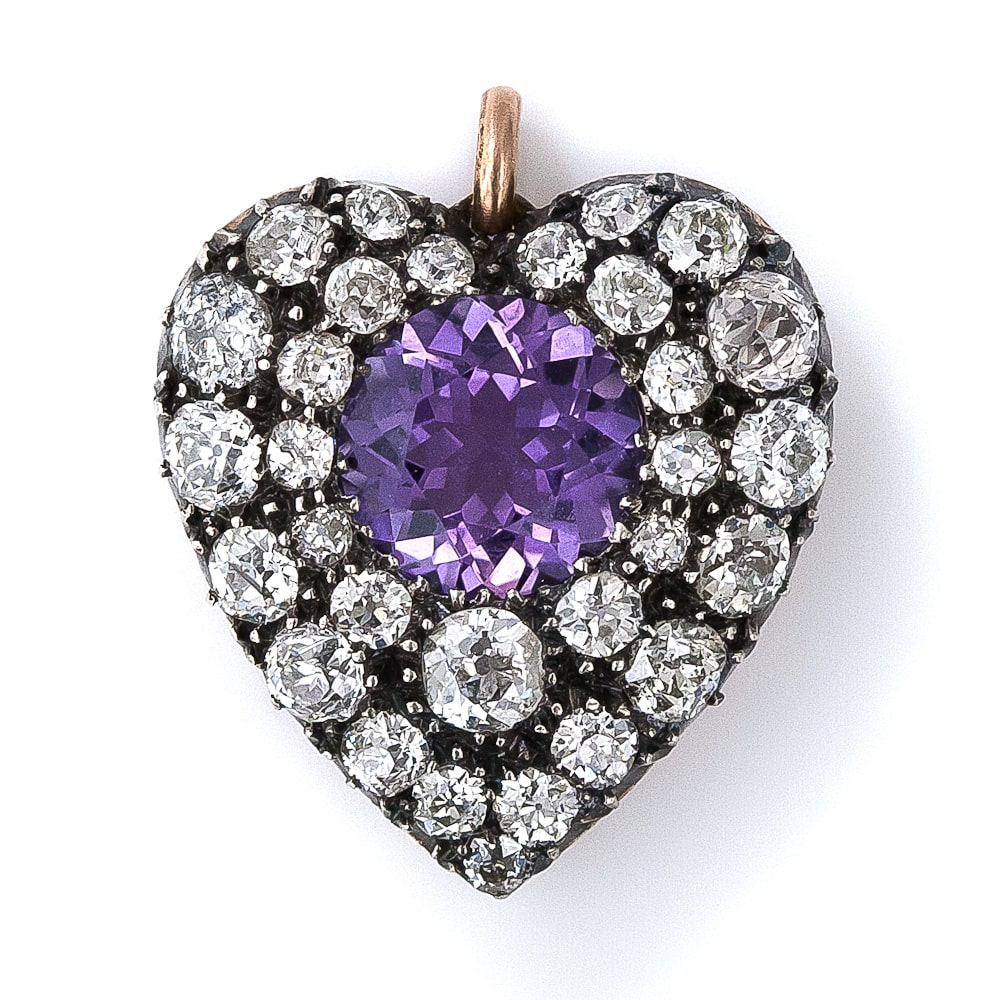 Antique Amethyst and Diamond Heart Pendant.jpg