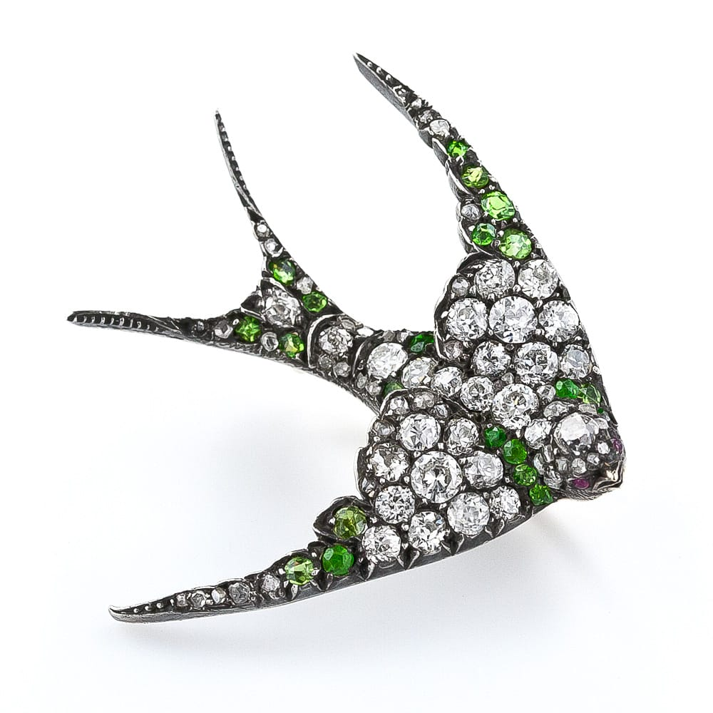 Antique Diamond and Demantoid Garnet Swallow Brooch.jpg