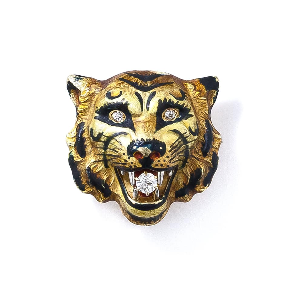 Antique Diamond and Enamel Tiger Pin.jpg