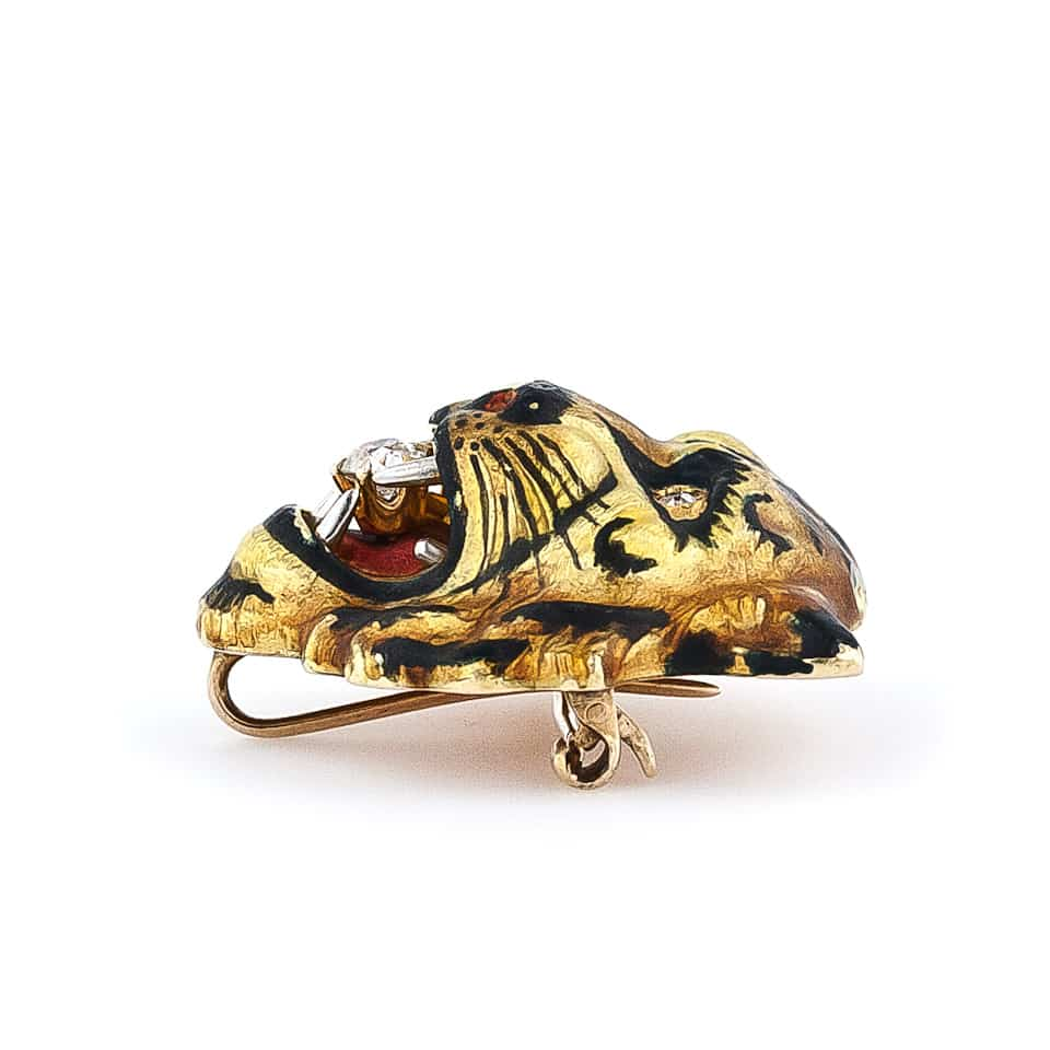 Antique Diamond and Enamel Tiger Pin2.jpg