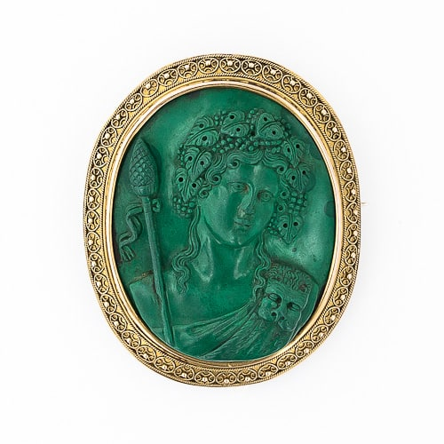 Antique Malachite Cameo of Dionysus.jpg