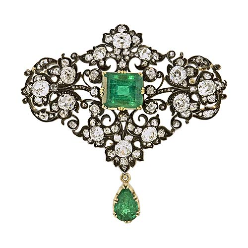 Antique Victorian Emerald and Diamond Brooch.jpg
