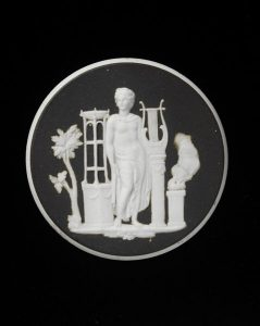 Wedgwood Ceramic Cameo - White Jasperware with Black c.1780-1800. Victorian & Albert Museum Collection.