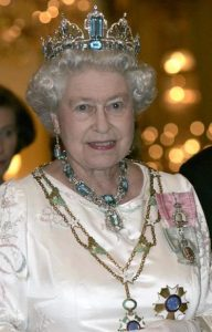 Queen Elizabeth II Wearing the Aquamarine Tiara.