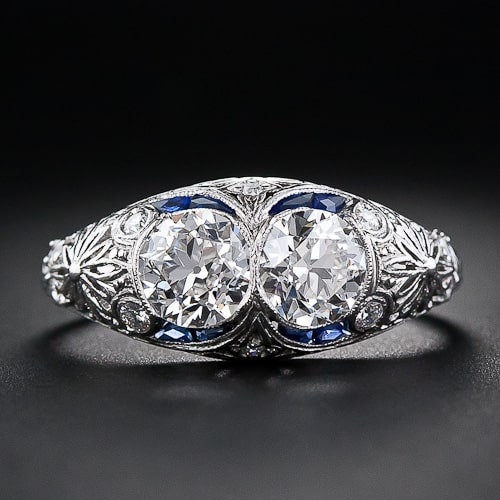 Art DecoTwin Diamond Platinum Ring.jpg