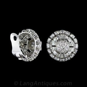 Ear Clip on the Reverse of a Pair of Art Deco Diamond Earrings.