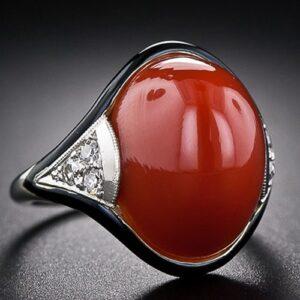 Art Deco Coral Diamond Ring.