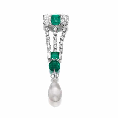 Art Deco Diamond Emerald Pearl Brooch Pendant.jpg