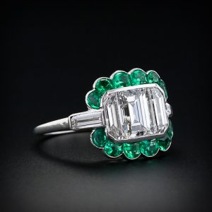 Art Deco Emerald-Cut Diamond and Emerald Ring.