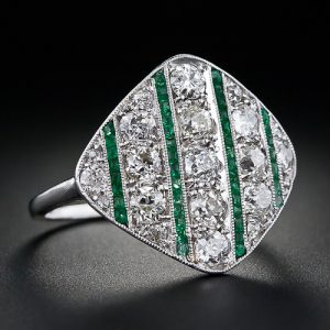 Art Deco Diamond and Emerald Calibre Ring.
