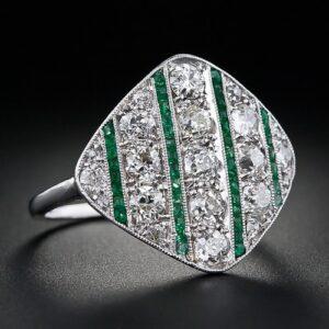 Art Deco Diamond and Emerald Calibre Ring.