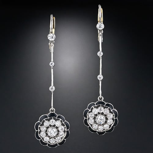 Art Deco Diamond Enamel Earrings.jpg