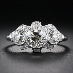 Art Deco Three Stone Diamond Engagement Ring.
