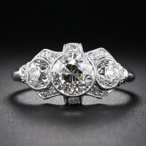 Art Deco Three Stone Diamond Engagement Ring.