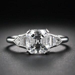 Art Deco Asscher-Cut Diamond Engagement Ring.