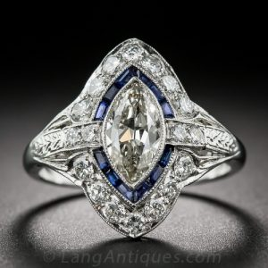 Art Deco Marquise-Cut Diamond and Sapphire Engagement Ring.