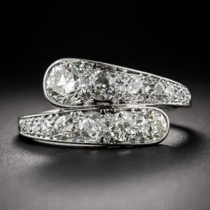 Art Deco Diamond Bypass Style Engagement Ring.