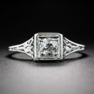 Art Deco Diamond Pierceworked Engagement Ring.