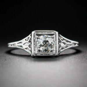 Art Deco Diamond Pierceworked Engagement Ring.