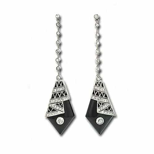 Art Deco Diamond and Onyx Earrings.