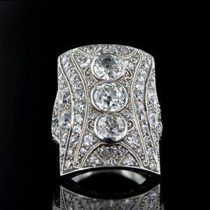 Early Art Deco Diamond Dinner Ring, Circa 1916.