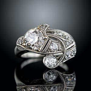 1.43 Carat Diamond Center Art Deco Free-Form Ring.