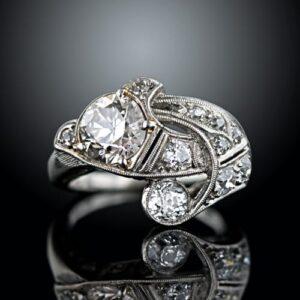 1.43 Carat Diamond Center Art Deco Free-Form Ring.