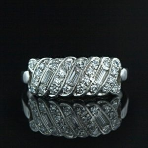Platinum Diamond Art Deco Wedding Band.