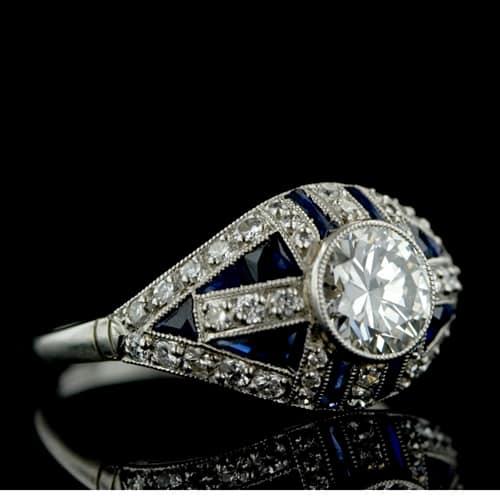 Platinum Diamond Art Deco Wedding Band Photo Courtesy of Lang Antiques
