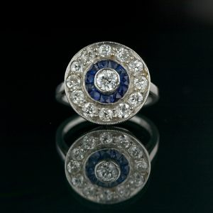 Art Deco Diamond and Sapphire Circular Ring.