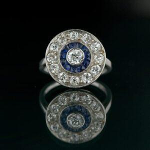 Art Deco Diamond and Sapphire Circular Ring.