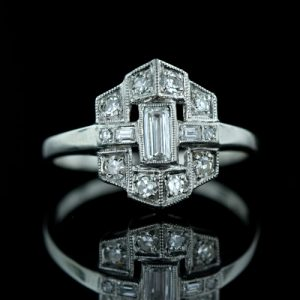 Architecturally Inspired Art Deco Diamond Ring.