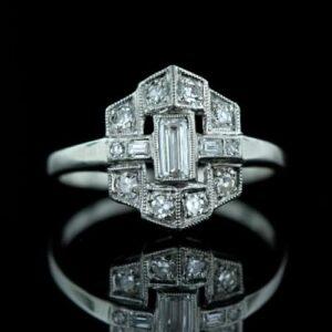 Architecturally Inspired Art Deco Diamond Ring.