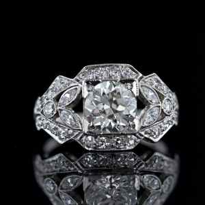 Art Deco 1.20 Carat Diamond Engagement Ring.