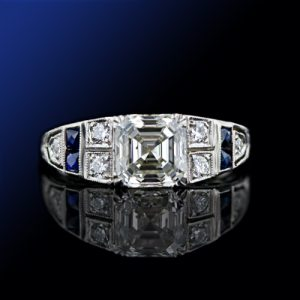 Art Deco 1.51 Carat Diamond Engagement Ring.