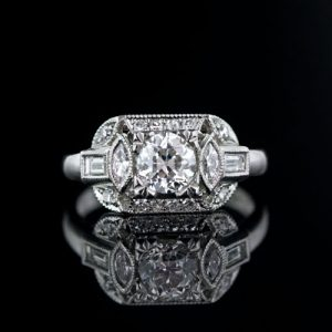 Geometric 0.70 Carat Art Deco Diamond Engagement Ring.