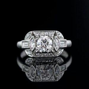 Geometric 0.70 Carat Art Deco Diamond Engagement Ring.
