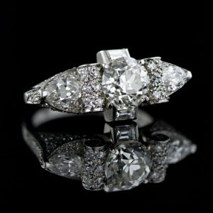 Late Art Deco 1.80 Carat Diamond Ring.