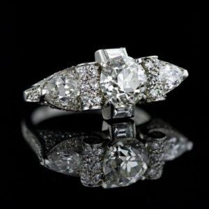 Late Art Deco 1.80 Carat Diamond Ring.