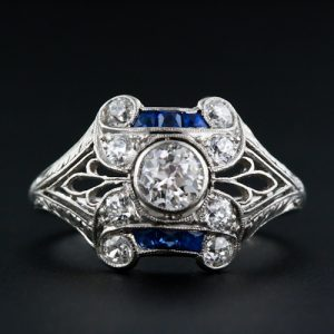 Art Deco Diamond and Calibre Sapphire Platinum Ring.