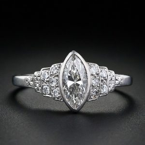 Marquise Diamond Art Deco Ring in Platinum.